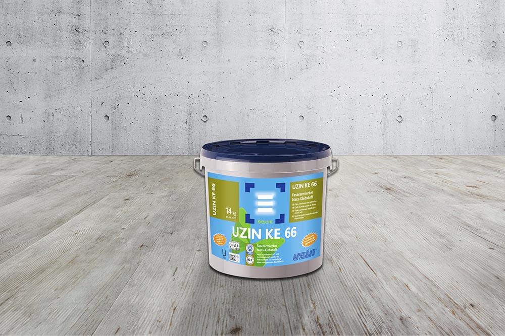 Армированный волокном «мокрый» клей для ПВХ- и резиновых покрытий, с большой прочностью на срез UZIN KE66 14 кг.