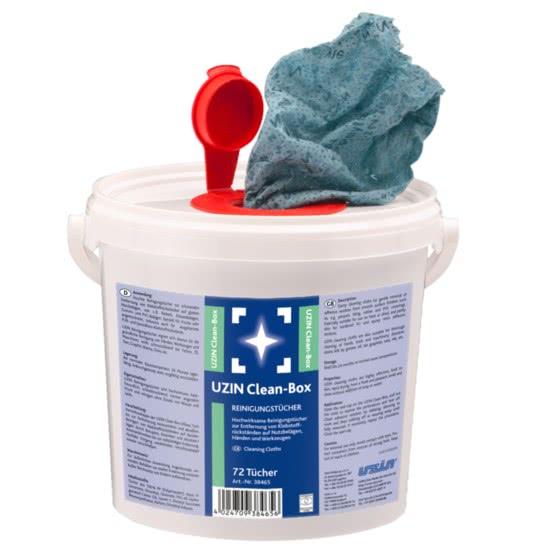 Салфетки для очистки, удаления клеевых остатков с несущих покрытий, рук, инструментов UZIN Clean Box 72 шт.